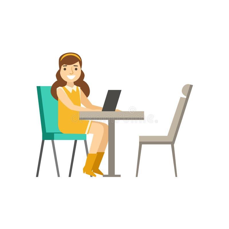 Mujer que se sienta en su escritorio con Lap Top, Coworking en atmósfera informal en la oficina conceptora moderna Infographic stock de ilustración