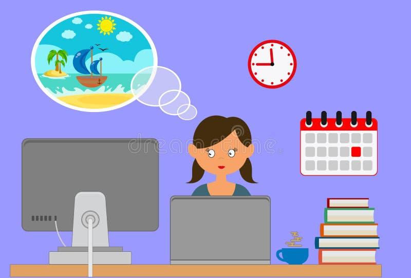 Mujer que se sienta en su escritorio que sueña sobre el tiempo de vacaciones - estilo plano de la historieta del diseño libre illustration