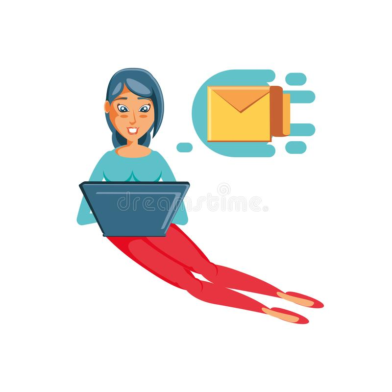 Mujer que se sienta enviando el correo con el ordenador portátil stock de ilustración