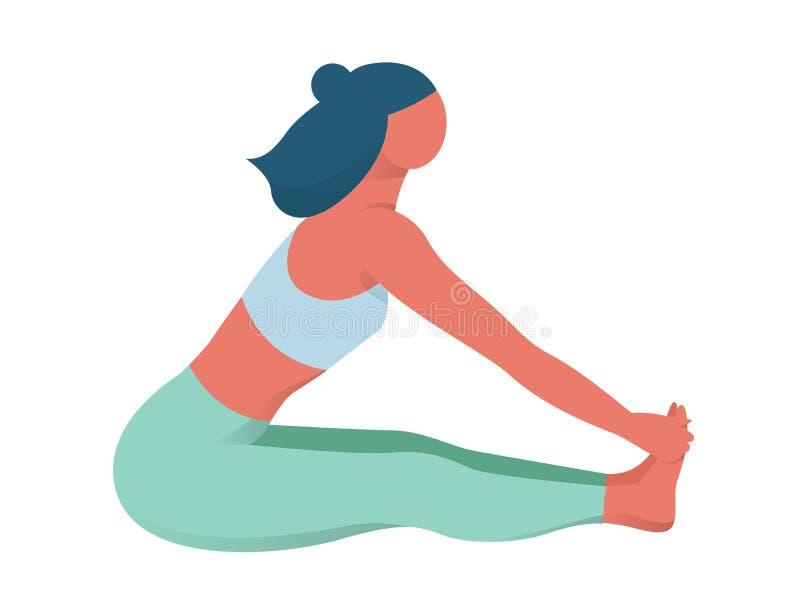 Mujer que se sienta y que estira después de entrenamiento Idea de activo libre illustration