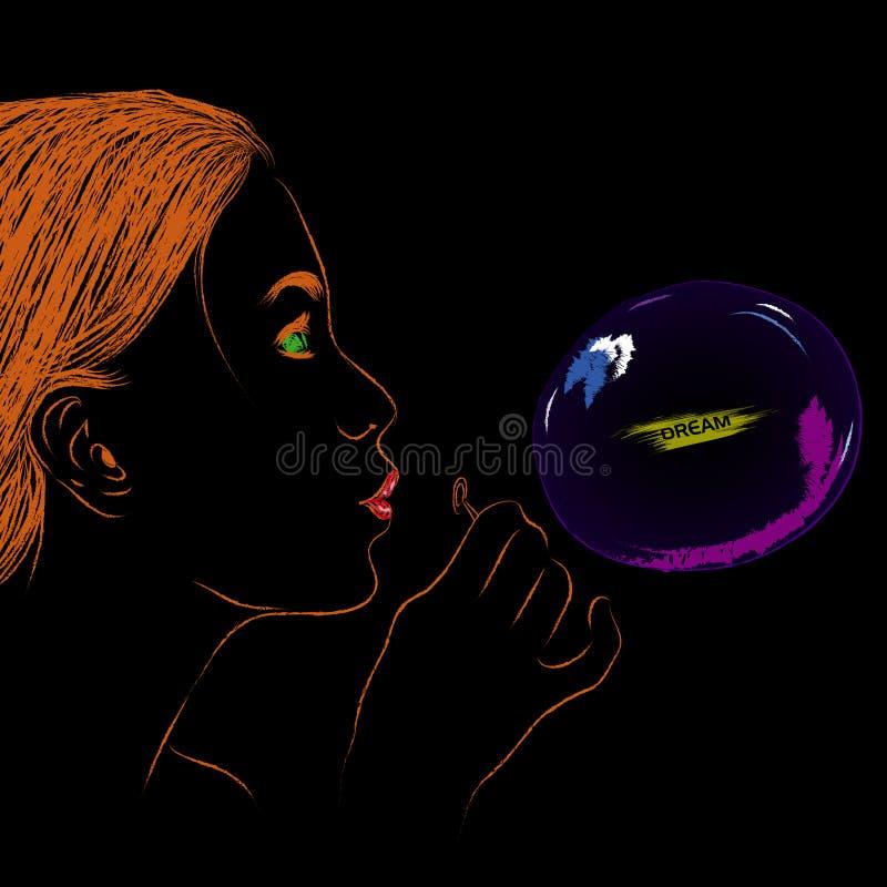 Mujer que sopla sueño buble del agua en fondo negro aislado stock de ilustración