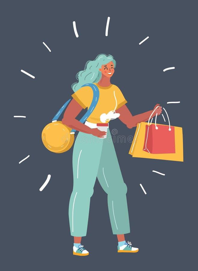 Mujer que sostiene bolsos de compras libre illustration