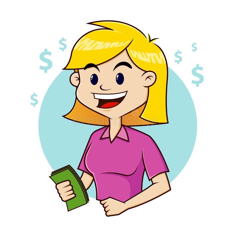 Mujer que sostiene el dinero libre illustration