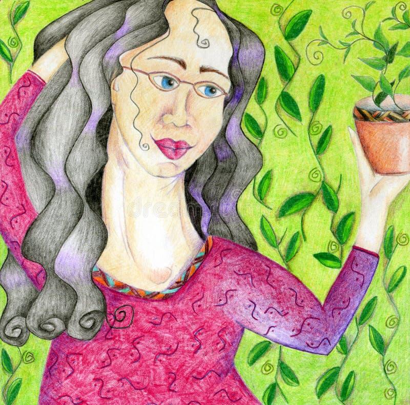 Mujer que sostiene el houseplant stock de ilustración