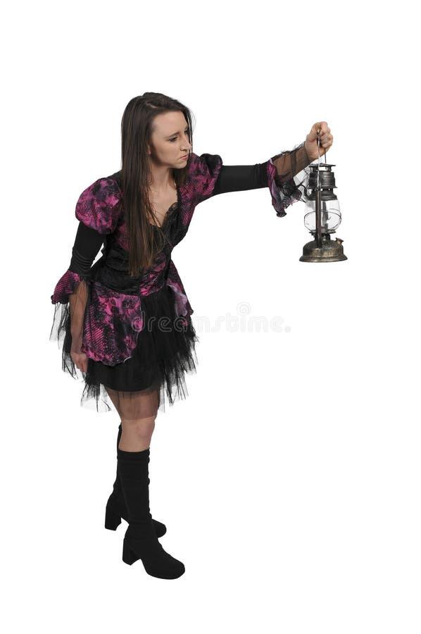 Mujer que sostiene la linterna fotografía de archivo
