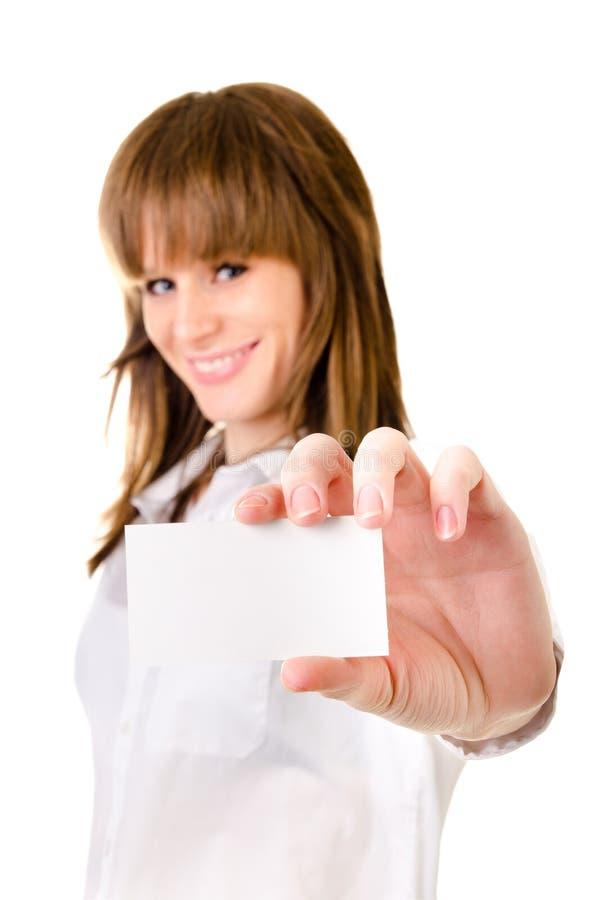 Mujer que sostiene la tarjeta vacía fotos de archivo