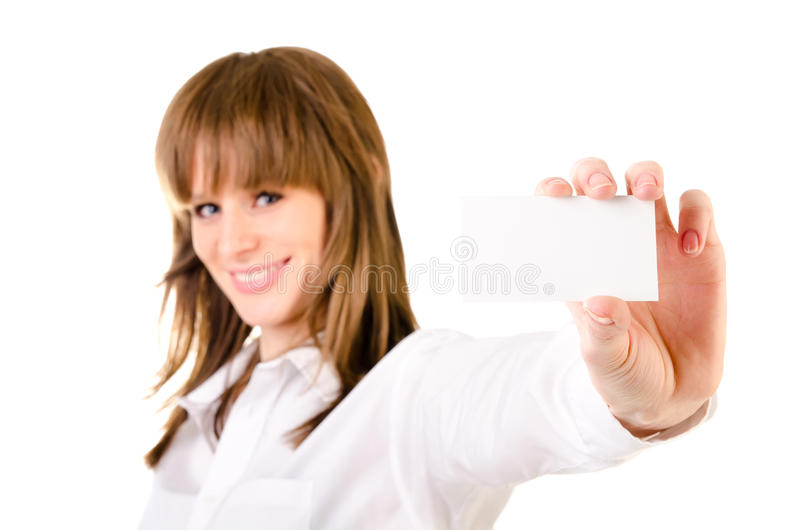 Mujer que sostiene la tarjeta vacía imagen de archivo libre de regalías
