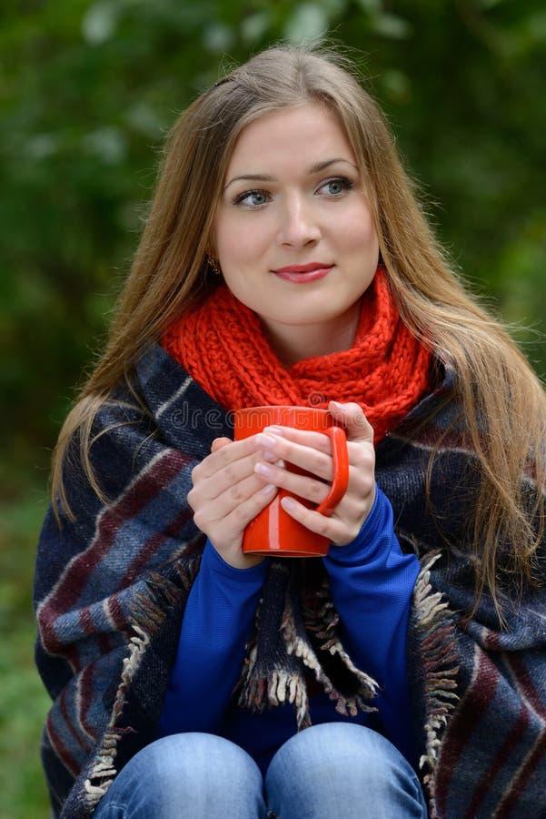 Mujer que sostiene la taza de té en manos imagen de archivo