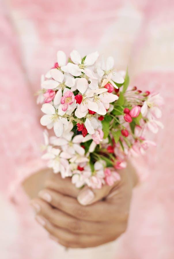 Mujer que sostiene las flores frescas de la primavera fotografía de archivo libre de regalías
