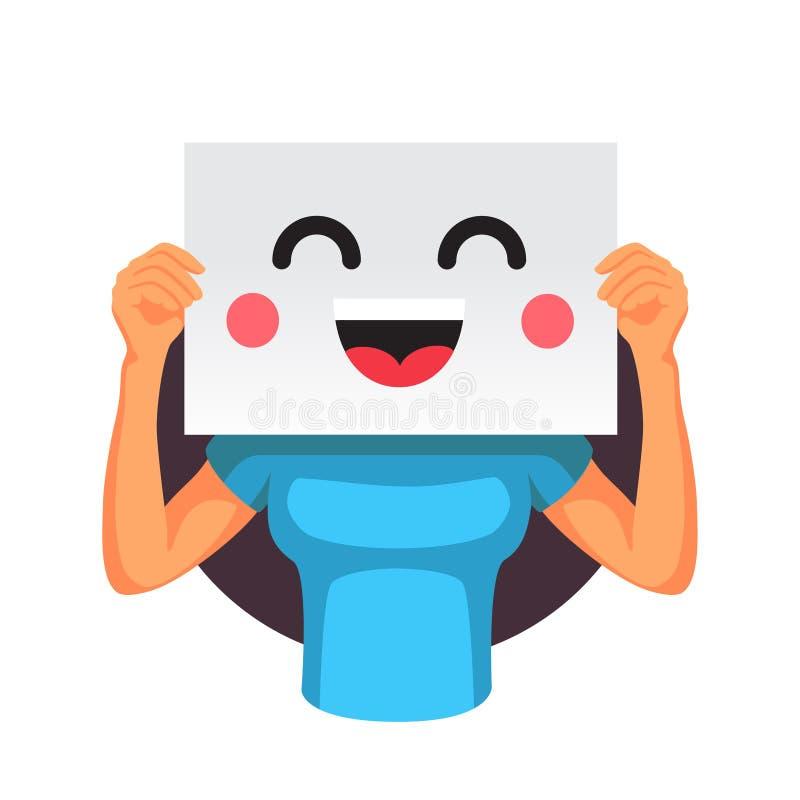 Mujer que sostiene un emoticon sonriente delante de la cabeza libre illustration