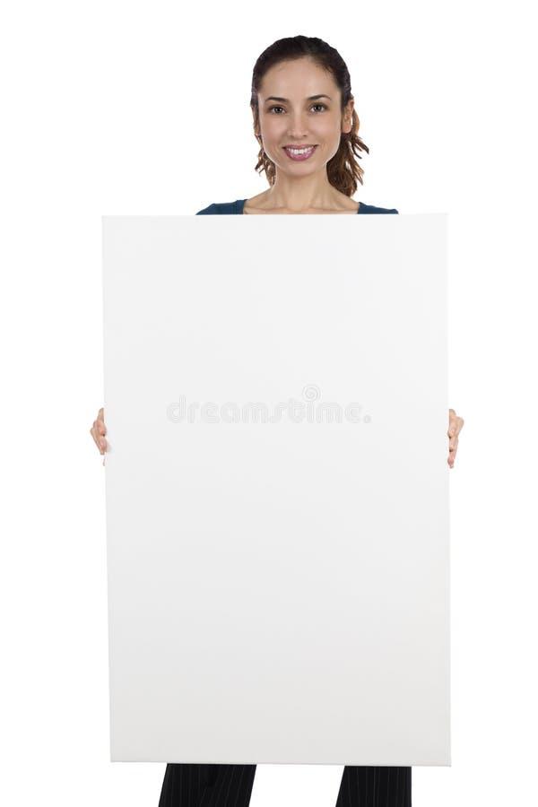 Download Mujer Que Sostiene Una Bandera En Blanco Con El Espacio De La Copia Imagen de archivo - Imagen de comunicación, aislado: 44853041