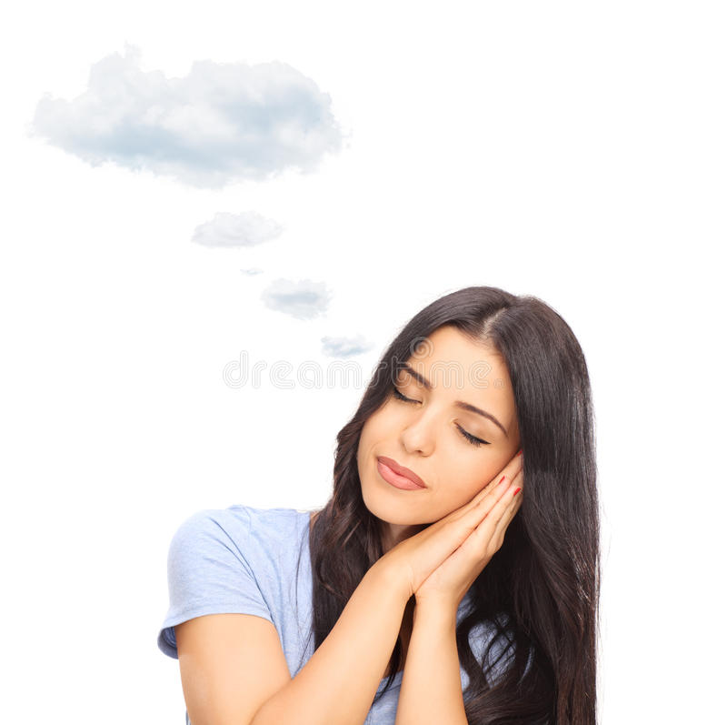 Mujer que sueña con la nube sobre la cabeza imagen de archivo libre de regalías