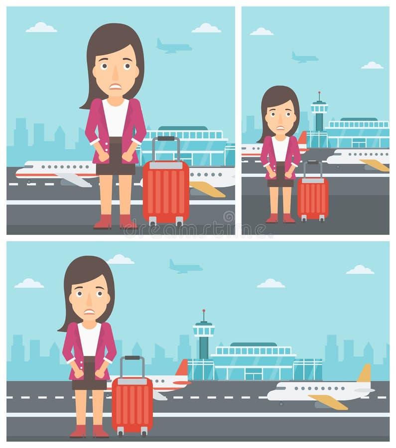 Mujer que sufre del miedo del vuelo stock de ilustración