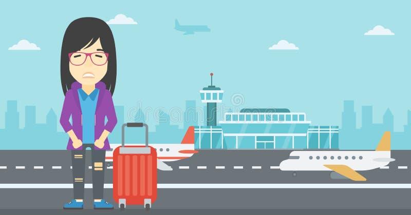 Mujer que sufre del miedo del vuelo ilustración del vector