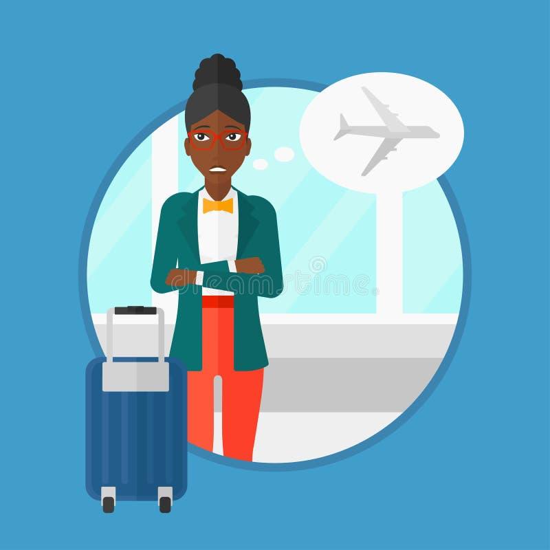 Mujer que sufre del miedo del vuelo libre illustration