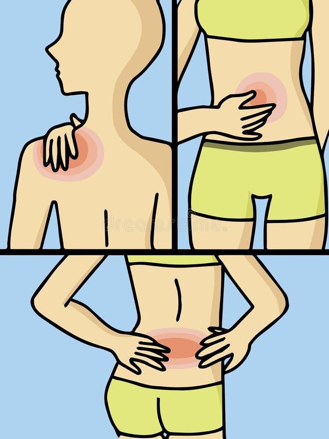 Mujer que tiene dolor stock de ilustración