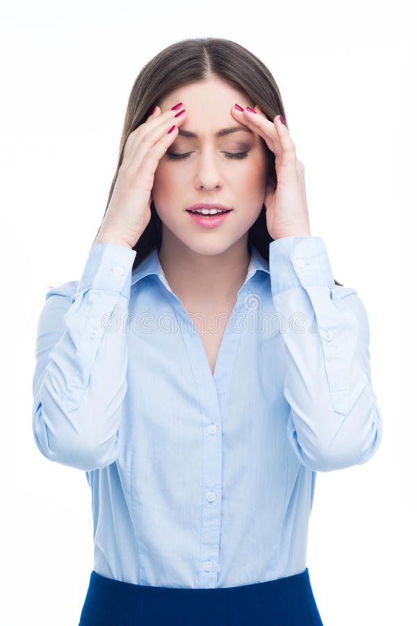 Mujer que tiene dolor de cabeza fotos de archivo libres de regalías