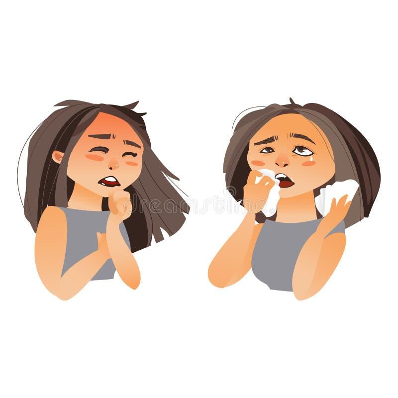 Mujer que tiene síntomas de la gripe - mocos, tos ilustración del vector