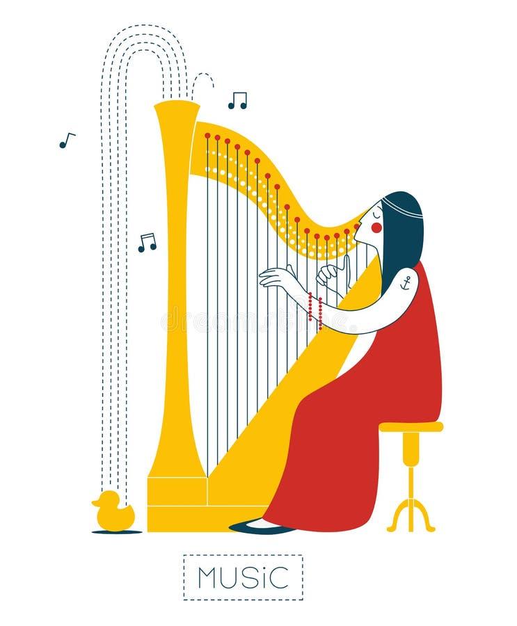 Mujer que toca la arpa ilustración del vector