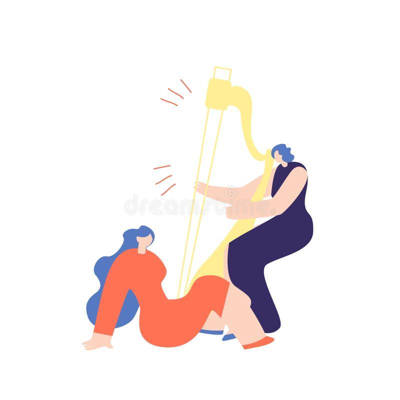 Mujer que toca la arpa al vector de la música de la muchacha que escucha ilustración del vector