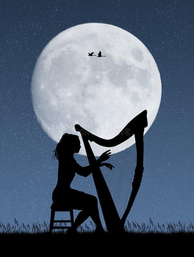 Mujer que toca la arpa en el claro de luna stock de ilustración
