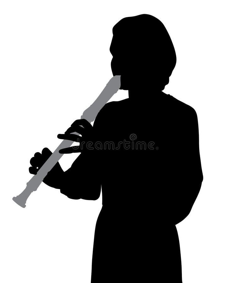 Mujer que toca la flauta del registrador stock de ilustración