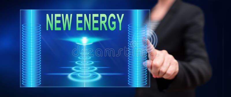 Mujer que toca un nuevo concepto de la energía stock de ilustración