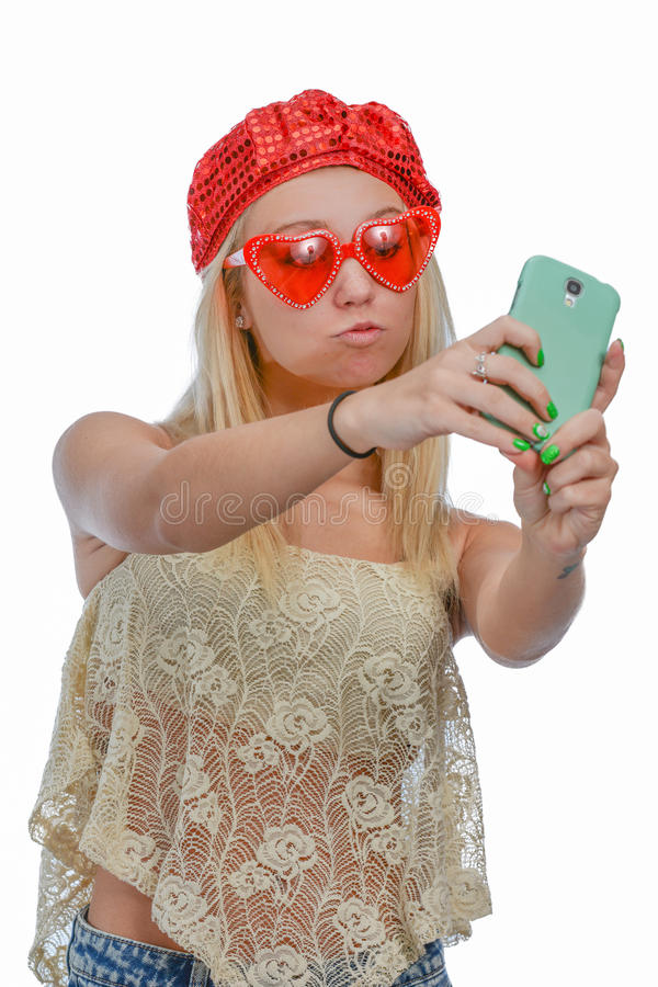 Mujer que toma el selfie fotografía de archivo