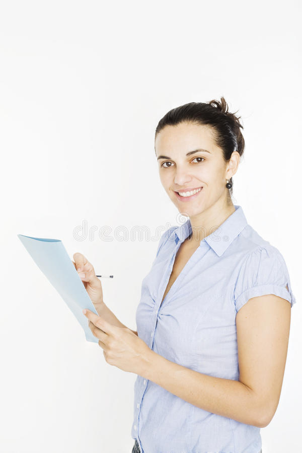Mujer que toma la nota imagen de archivo libre de regalías