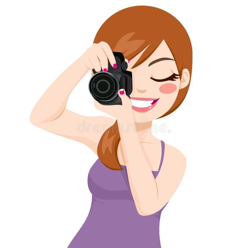 Mujer que toma las fotos stock de ilustración
