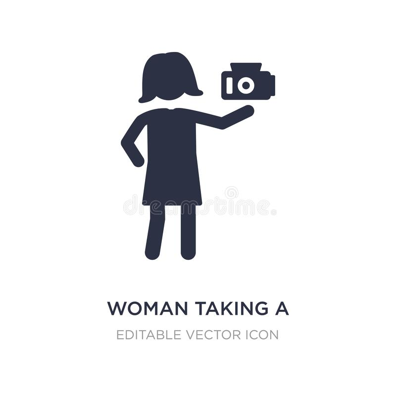 mujer que toma un icono de la foto en el fondo blanco Ejemplo simple del elemento del concepto de la gente stock de ilustración