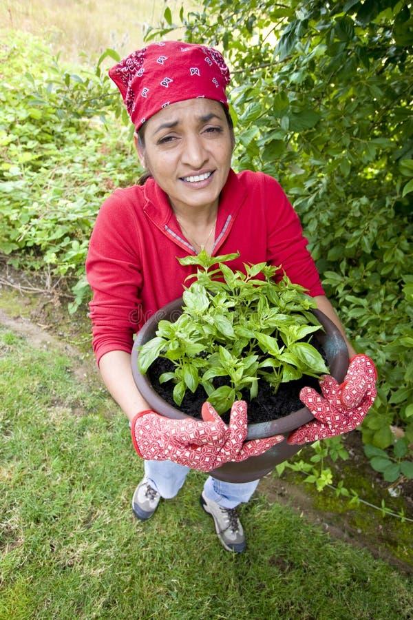 Mujer que trabaja afuera en jardín foto de archivo