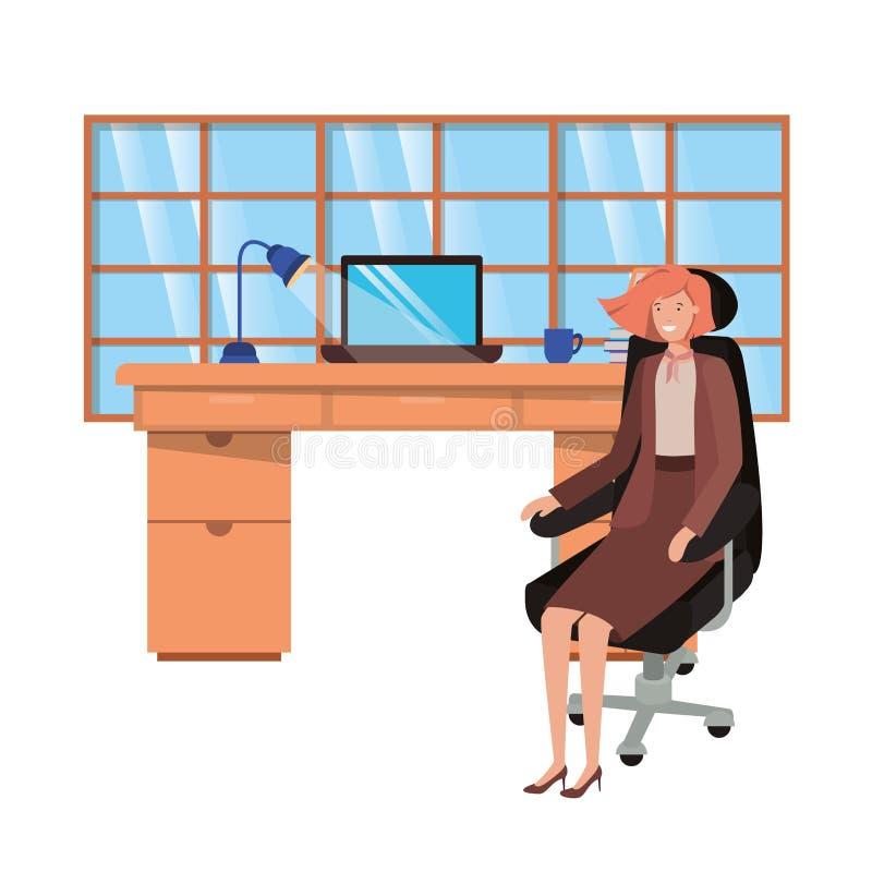 Mujer que trabaja en el carácter del avatar de la oficina stock de ilustración
