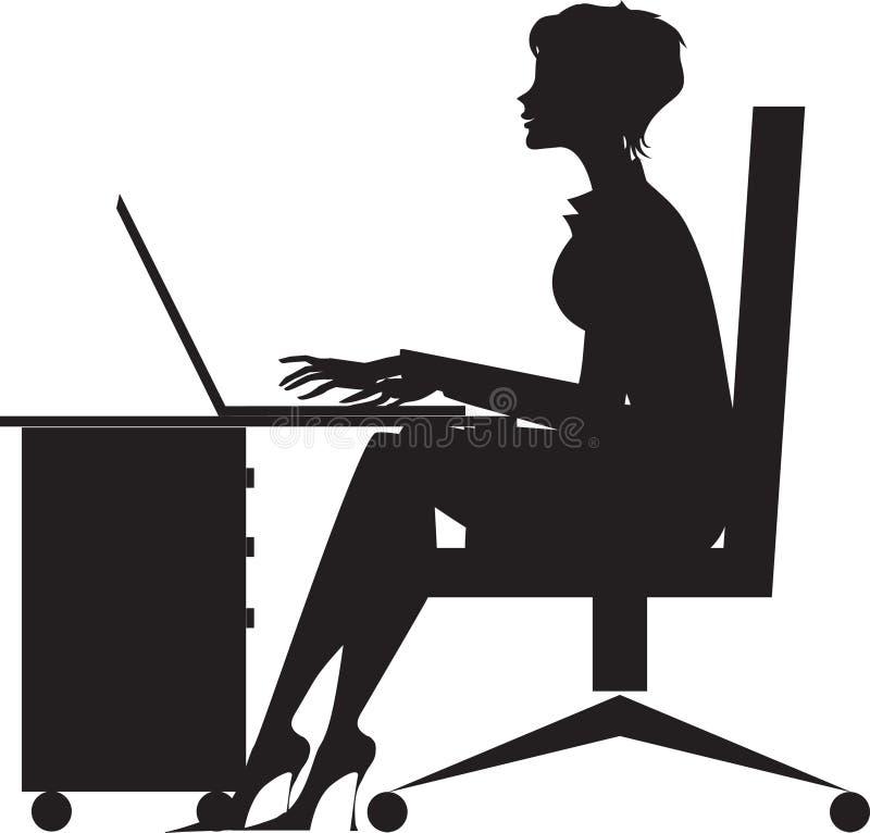 Mujer que trabaja en el escritorio libre illustration