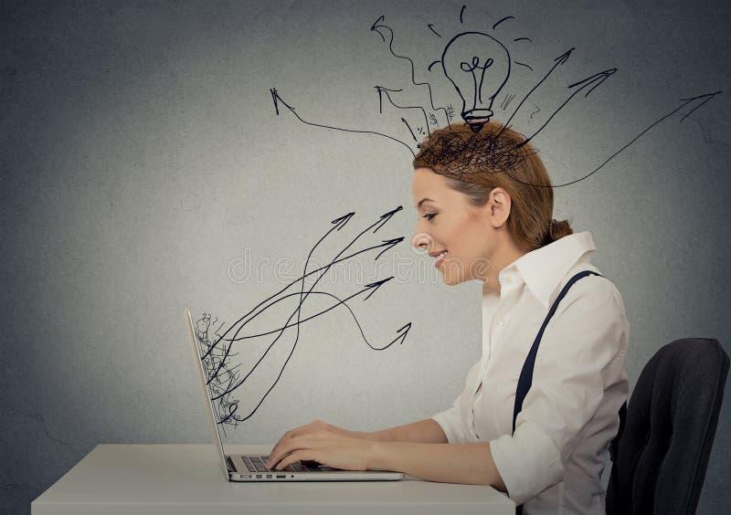 Mujer que trabaja en el ordenador portátil imagenes de archivo