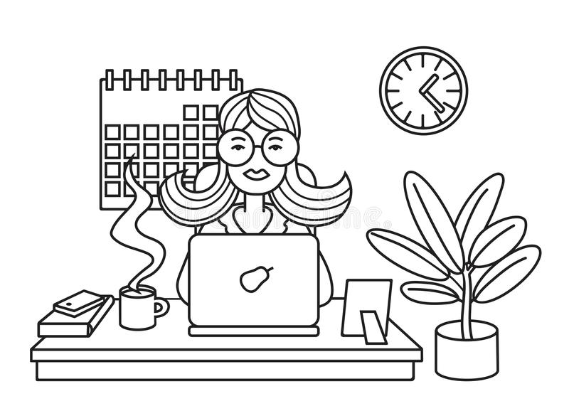 Mujer que trabaja en el ordenador portátil en la oficina stock de ilustración