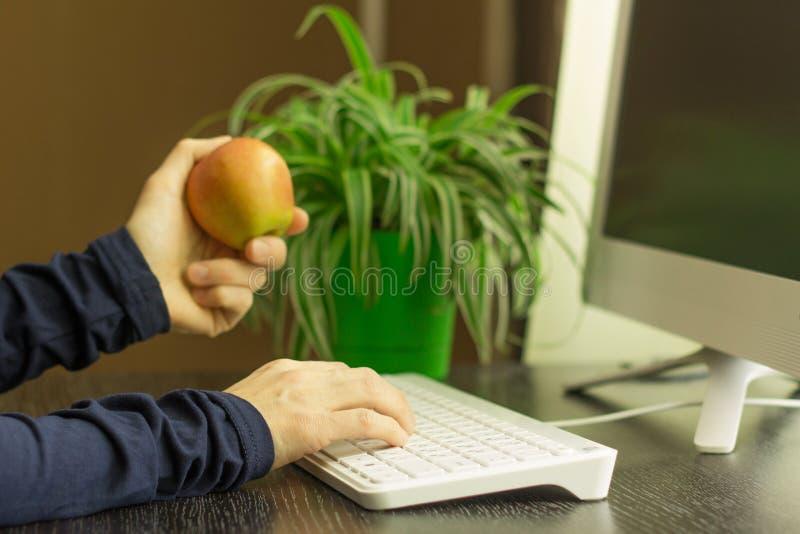 Mujer que trabaja en el ordenador y que sostiene una manzana foto de archivo