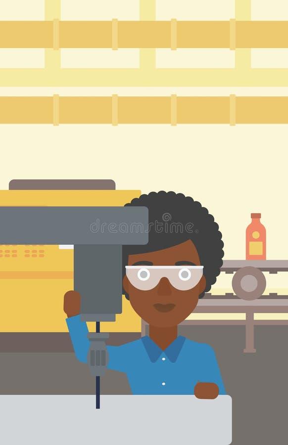 Mujer que trabaja en la fresadora libre illustration
