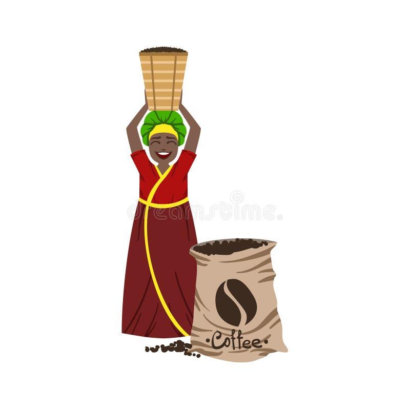 Mujer que trabaja en la plantación de café ilustración del vector