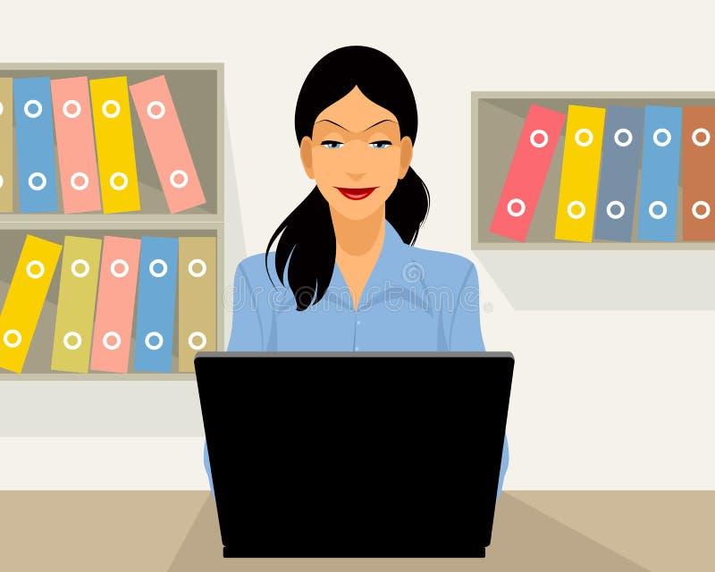 Mujer que trabaja en oficina stock de ilustración
