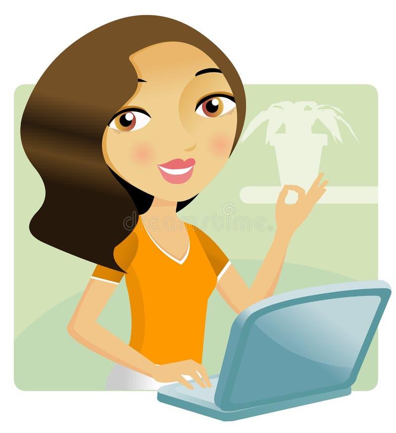 Mujer que trabaja en su computadora portátil stock de ilustración