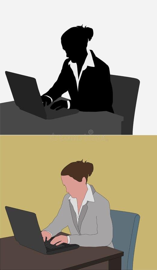 Mujer que trabaja en su ordenador portátil ilustración del vector