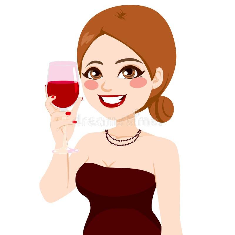 Mujer que tuesta el vino libre illustration