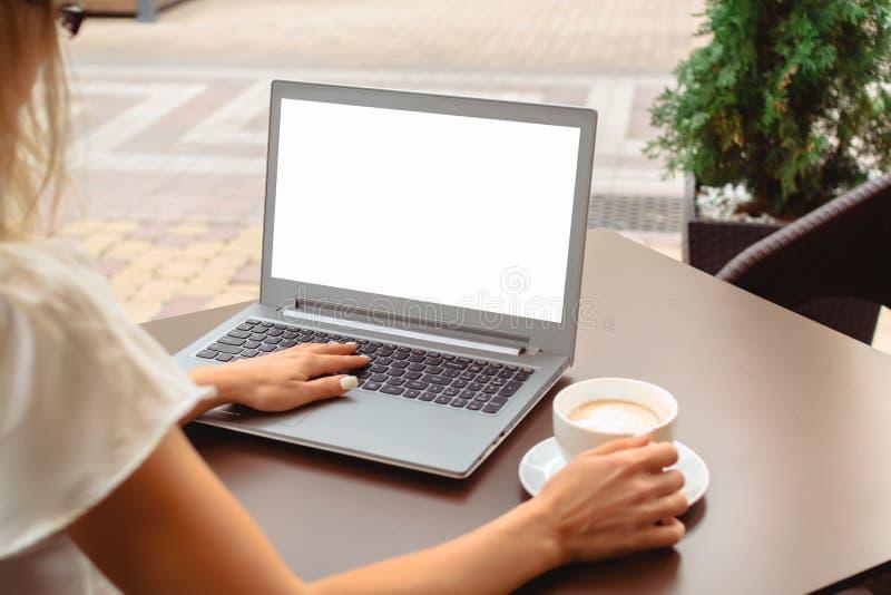 Mujer que usa el ordenador portátil con el copyspace vacío de la pantalla imagenes de archivo