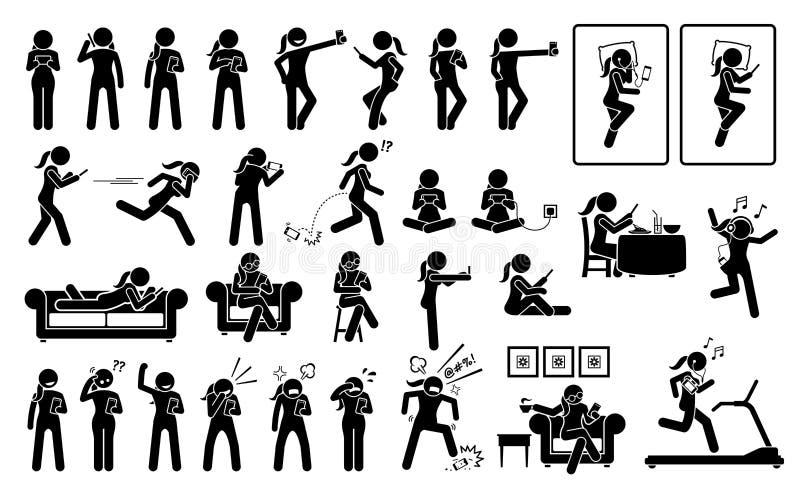 Mujer que usa el teléfono o el smartphone en diversos actitudes, acciones, emociones, reacciones, y lugares stock de ilustración