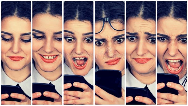 Mujer que usa emociones cambiantes del teléfono elegante imagen de archivo libre de regalías