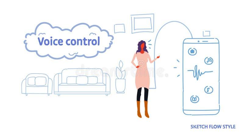 Mujer que usa la aplicación móvil auxiliar del sistema de la voz elegante personal en la vida del concepto del reconocimiento de  ilustración del vector
