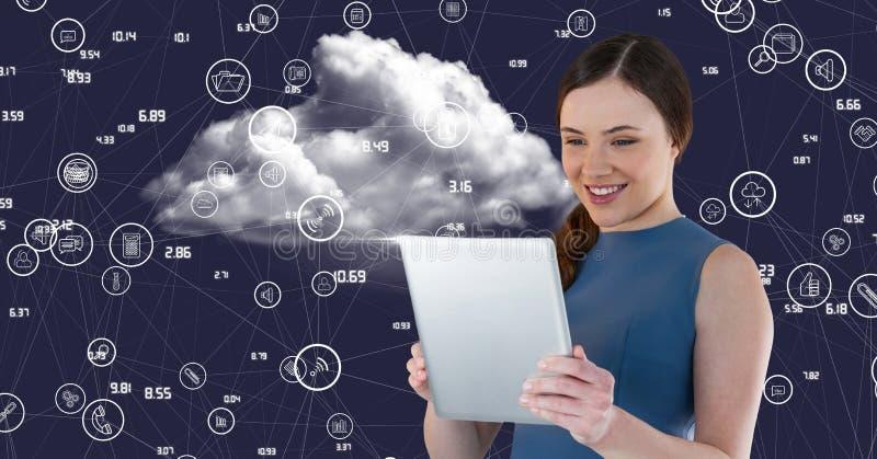 Mujer que usa la tableta contra iconos de conexión digital generados libre illustration