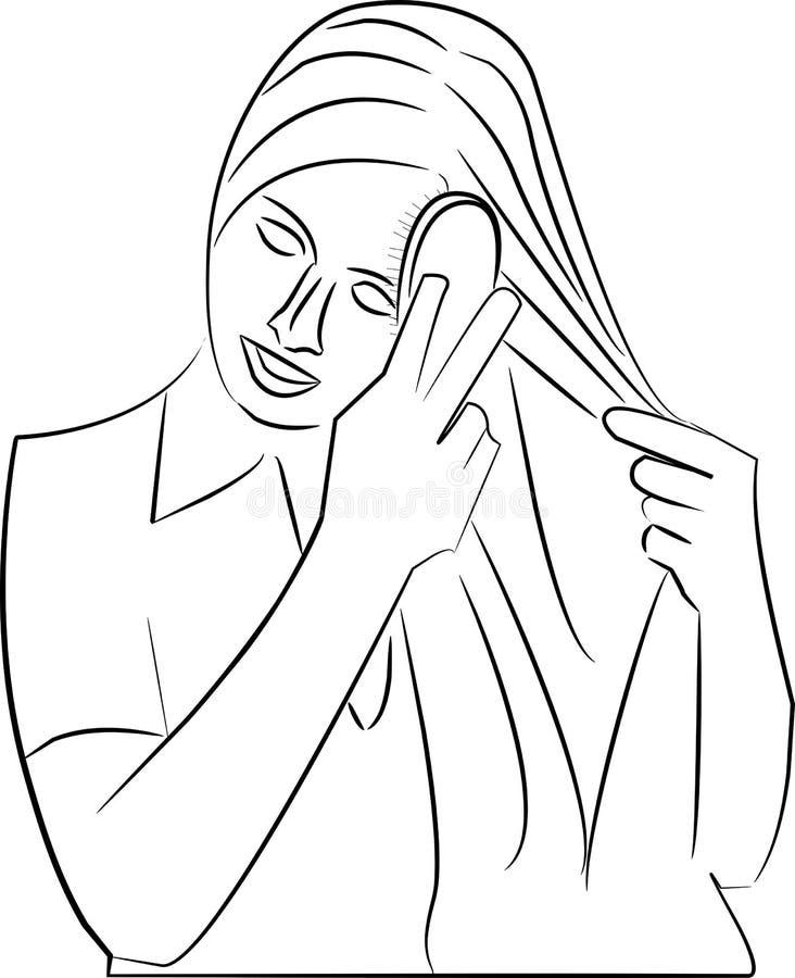 Mujer que usa un cepillo de pelo en su pelo largo stock de ilustración