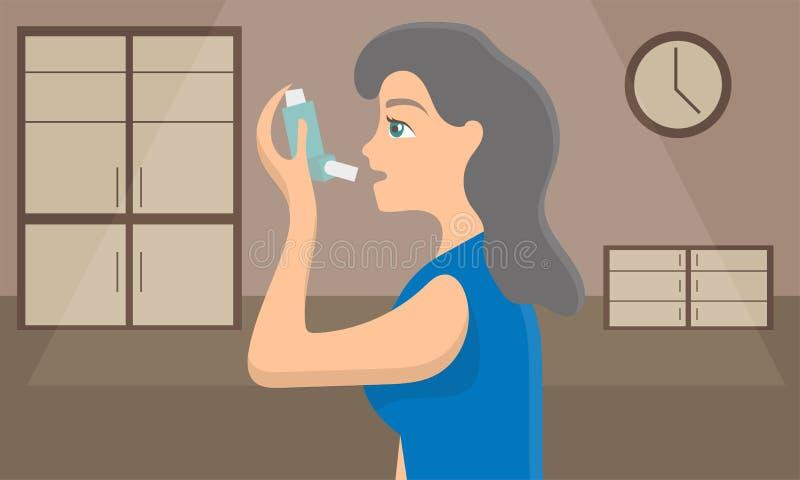 Mujer que usa un inhalador del espray para parar ataque de asma Conciencia de la enfermedad bronquial ilustración del vector
